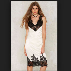 Nasty Gal One Smart Cookie Satin Lace Dress XS